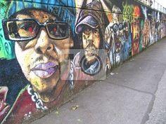 Papier peint mur avec graff - grand - mur - cru • PIXERS.fr