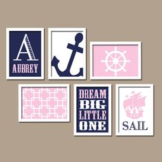 Pink Navy Blue Nautical Sail Ocean Sea Anchor Dream Big Custom Name Set of 6 Prints WALL Gallery Child Baby Decor ART Picture Crib NURSERY