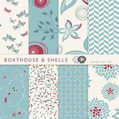 8 Digital Papers Digital Scrapbook Paper von BoathouseAndShells
