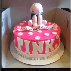Victoria secret PINK cake Birthday Ideas ❤ liked on Polyvore featuring food