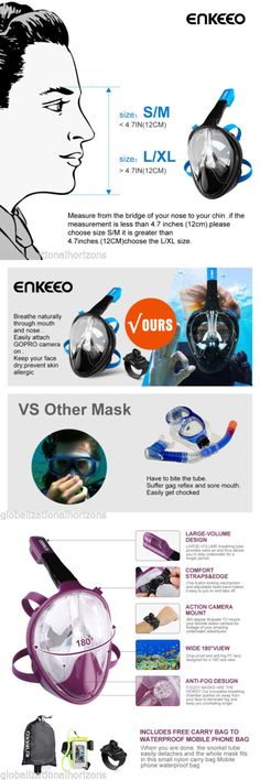 Masks 71161: Swimming Full Face Snorkel Mask Diving Snorkel Mask Scuba + Breather For Gopro -> BUY IT NOW ONLY: $56.99 on eBay!