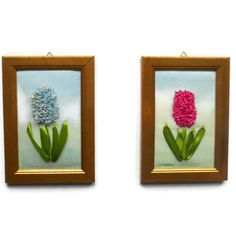 Wall hanging framed Textile painting small format Fiber Art Embroidery Ribbon flowers picture