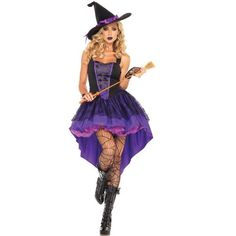 Womens Sleeveless Sexy Halloween Witch Costume Purple ($34) ❤ liked on Polyvore featuring costumes, purple, witch costume, womens snow white costume, salem witch costume, white costume and sexy costumes