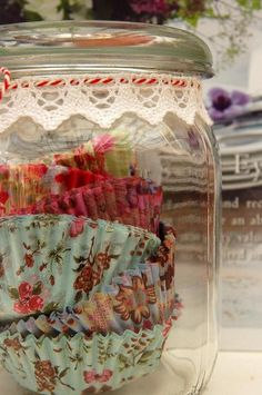 keeping pretty cupcake liners in a jar