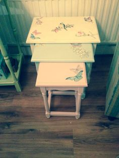 Upcycled nest of tables using rustoleum paint and wallpaper inserts pastel colours decoupaged nest of tables watchthetrailerfo