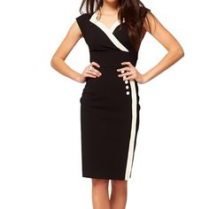 Little Hand Womens Rockabilly V Neck Bodycon Business Party Pencil Dress on hotgirlsclothes.com