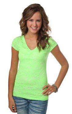 $11 short sleeve v-neck neon burnout tee shirt
