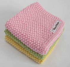 Hand Knitted WASH-CLOTH - moss stitch