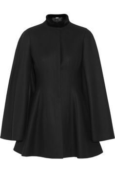 Black mid-weight wool-felt Velvet collar, snap-fastening neckline, lightly padded shoulders, contoured sides, split sleeves with draped overlay at back, fully lined Concealed button fastenings through front Fabric1: 100% wool; fabric2: 98% cotton, 2% elastane; lining: 50% rayon, 50% cupro Dry clean