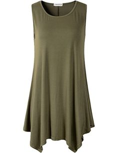 Lanmo Women Plus Size Solid Basic Flowy Tank Tops Summer ... http://a.co/cjY48Or