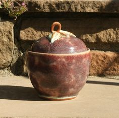 Apple Jar  stoneware pottery hand thrown by muddywaterscc on Etsy, $25.00