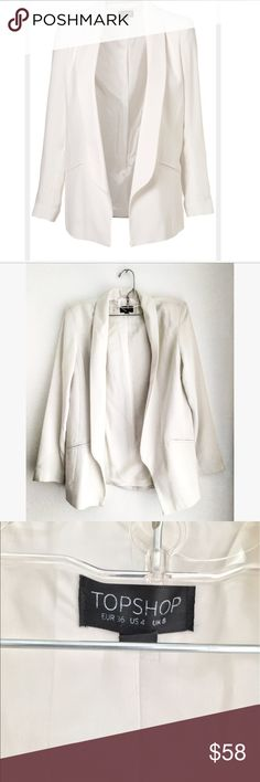 TopShop Limited Edition White Blazer Classic tailoring goes casual with this traditional blazer. Pockets are just for aesthetic - beautiful blazer Topshop Jackets & Coats Blazers