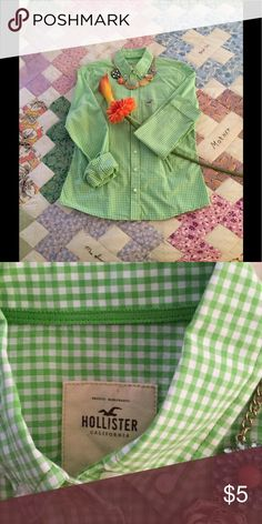 Top Hello there! That's what you'll hear when you wear this beautiful spring green checked button down. Pair it with orange, navy, fuchsia etc. Endless possibilities with this blouse. Have fun in it! Hollister Tops Button Down Shirts