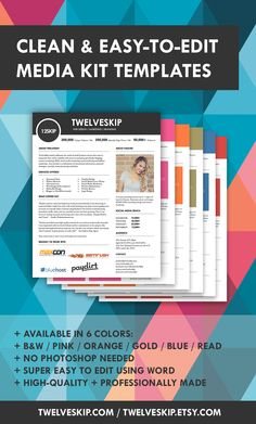 Media Kit Templates (DIY). Click the PIN to get one today…