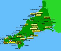 Locations of castle in Cornwall #Castles #Cornwall #map