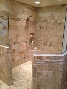 Bathroom Remodel With Walk In Shower travertine slate shower design, pictures, remodel, decor and ideas