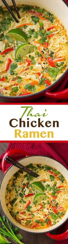 Thai Chicken Ramen - this is AMAZING! Easy to make and seriously so good! Definitely add the peanuts! #RAOHRamen #spon | Cooking Classy