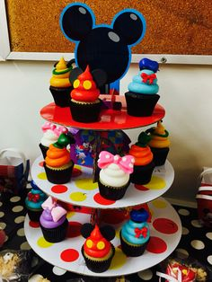 Mickey Mouse clubhouse cupcakes. Jaxon's first birthday