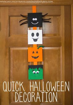 A Quick Halloween Decoration Between packing, moving and unpacking this spring/summer, I haven't decorated for any holidays since St. So I definitely am for Halloween. Casa Halloween, Halloween Arts And Crafts, Halloween Crafts For Kids, Holidays Halloween, Halloween Party, Peanuts Halloween, Homemade Halloween, Outdoor Halloween, Halloween Projects