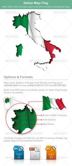 Italian Map Flag  #GraphicRiver         … map cut-out with a waving … flag underneath. The Settle thickness on the cut-out's border follows the light source of the inner shadow. Build-in the EPS file there is included the basic vector file of Italy Flag Grunge   Enjoy!!!   Your rate is appreciated     Created: 22June13 GraphicsFilesIncluded: PhotoshopPSD #JPGImage #VectorEPS Layered: Yes MinimumAdobeCSVersion: CS Tags: area #banner #chart #coastline #country #curve #cutout #edges #ensign…
