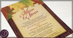 Rustic Autumn Leaves Wedding Invitation and RSVP Card Set