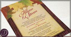 Rustic Autumn Leaves Wedding Invitation and RSVP Card Set