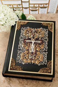 Jeweled Garnet Crucifix Family Bible RSV Catholic