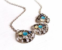 Metal Necklace,Resin Necklace,Painted Necklace, Antique Silver Necklace,Charm Necklace,Blue White Necklace on Etsy, $22.68