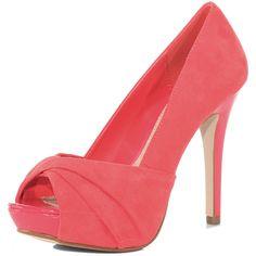 Pink platform peep toe shoes