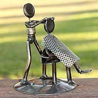 Metal Barber Sculpture Recycled Auto Parts Handmade Mexico - Haircut Welding Art Projects, Metal Art Projects, Metal Crafts, Welding Ideas, Diy Projects, Welding Crafts, Metal Sculpture Artists, Steel Sculpture, Sculptures