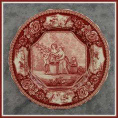 RED  CREAM TRANSFERWARE VICTORIAN PASTORAL COUNTRY FARM