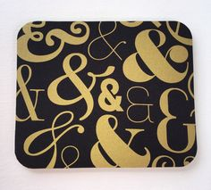 Mouse Pad mousepad / Mat - round or rectangle - Gold Ampersand - Computer Accessories Geekery Custom Desk Coworker Gifts Office Gifts