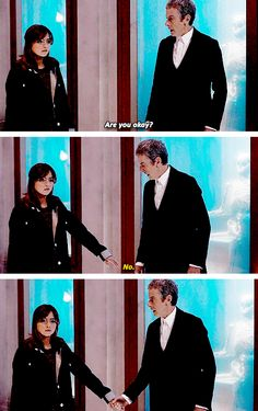I loved this because you saw 10 and 11 grab their companion's hands so frequently, however, 12 is drastically less touchy, less hug-y, less hand hold-y. But here, for Clara, he is still the Doctor we know and love. It reminds me of 11 when he says that to travel the universe, the one thing you need is a hand to hold.