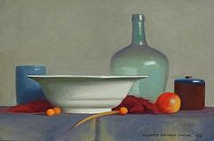 """Robert Douglas Hunter (American, b. 1928), Arrangement with a Pear and Kumquats, 2008, oil on canvas, 16"""" x 24"""". Courtesy of the Henry and Sharon Martin Collection of Contemporary Realist Paintings."""