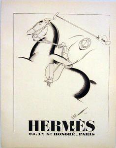 Hermès art deco ad- original vintage graphic from PAN (Art Deco ads published by Devambez for Paul Poiret)