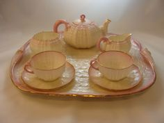 Complete Tea Set @ Tray of Rare Belleek Gilt Ttrimmed 'Tiffany New York' Tridacna