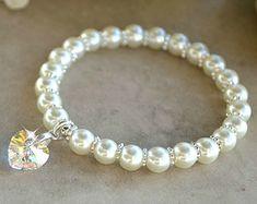 Ragazze perla Bracciale con cristallo di HeartofGems su Etsy