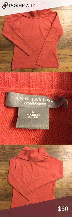 Ann Taylor orange cashmere turtleneck small 100% cashmere. Unbelievably soft. Gently used. Turtleneck style. Ann Taylor Sweaters Cowl & Turtlenecks