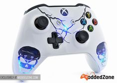 """Skulls White"" Xbox One S Custom Modded Controller available. Customize your own the way you want EXCLUSIVELY at www.moddedzone.com #customcontroller #moddedcontroller #xboxones #xboxonescontroller #elevateyourgame #moddedzone Xbox One S, Xbox One Games, Epic Games, Control Xbox, Manette Xbox One, Consoles, Cool Avatars, Nerd Room, Video Game Rooms"