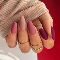 Acrylic Nails Coffin Pink, Simple Acrylic Nails, Fall Acrylic Nails, Almond Acrylic Nails, Fall Gel Nails, Pink Gel Nails, Summer Nail Polish, Almond Nail Art, Matte Nails