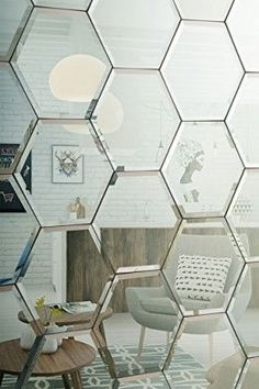MY-furniture Hexagonal Silver #mirror Bevelled Wall Tiles for bedroom bathroom kitchen