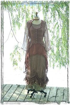 Two Alouette Frocks are featured together in this ensemble, a high and low water length. Also shown in this ensemble are the Netherfield Frock and Netherfield Jacket with a Willow Sash around the neck. All original designs by Ivey Abitz.
