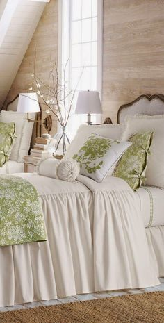 this is so cute wouldnu0027t have to mess with a skirt Horchow Legacy Home  H&ton  Bed Linens. Bought this for the  green  guest room. & 516 best ~COTTAGE STYLE BEDROOMS~ images on Pinterest | Bedrooms ...