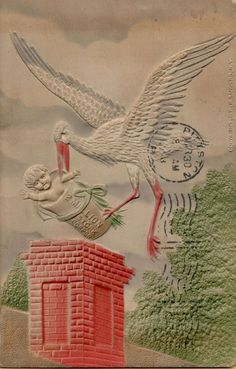 Vintage New Baby Congratulations Postcard Victorian Stork Embossed