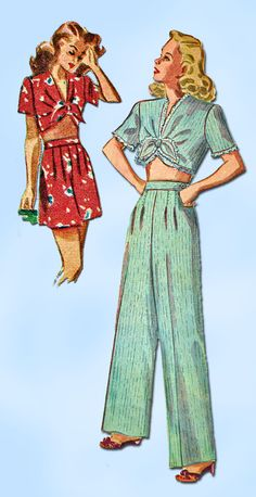 1940s Vintage Simplicity Sewing Pattern 1230 Misses WWII Pajamas Size 12 30 Bust