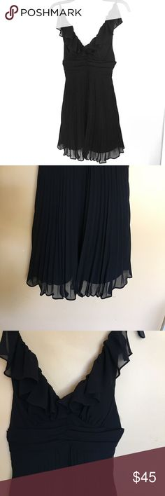 BCBG Black Cocktail Dress (Little Black Dress) Chiffon overlay, black spaghetti straps, tie back, open back. Very cute for a cocktail party, bachelorette, or wedding. This dress is in great shape! BCBGeneration Dresses Wedding