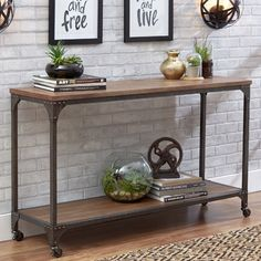 Console table for Entryway Rustic Industrial Wood Metal Wheels Rolling Narrow for sale online Industrial Console Tables, Narrow Console Table, Modern Console Tables, Rustic Industrial, Industrial Furniture, Rustic Wood, Mid Century Console, Entry Tables, Sofa Tables