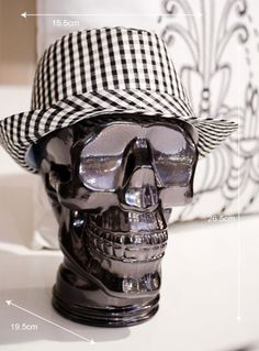 Skulls : Glass Display Skulls Available in a range of colours to match your home interior. Ideal for storage of hats, headphones and glasses.