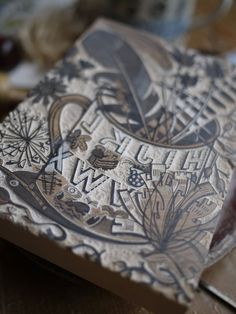 One of Angie Lewin's wood engraving blocks