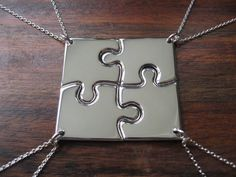 Four Corner Puzzle, Silver Pendant Necklaces.me, Brynn, Des, Jen! Friendship Necklaces For 4, Friend Necklaces, Friend Jewelry, Sibling Tattoos, Sister Tattoos, Birthday Gifts For Best Friend, Best Friend Gifts, Bff Gifts, Hp Tattoo